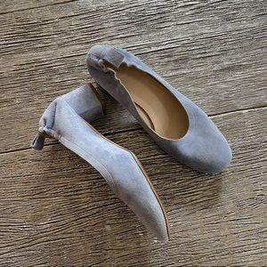 Everlane Blue Suede Block Heel Shoes